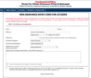 Portal For Citizen Grievance Filing & Redressal अंडमान और निकोबार)
